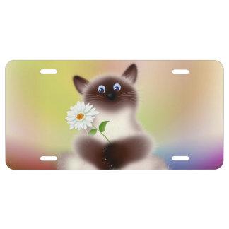Gato con la flor placa de matrícula