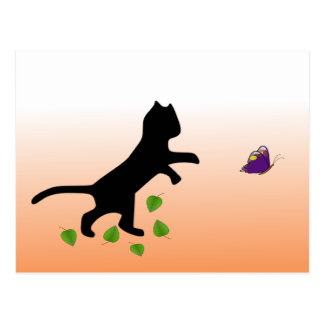 Gato con la mariposa tarjetas postales