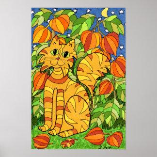 Gato con la planta de linterna china póster