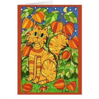 Gato con la planta de linterna china tarjeta de felicitación