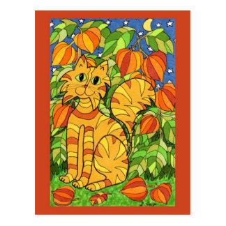 Gato con la planta de linterna china tarjetas postales