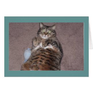 Gato con la tarjeta de cumpleaños de Tude