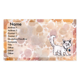 Gato con la tarjeta de visita del ratón del juguet