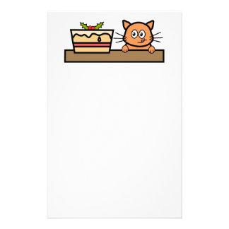 Gato con la torta del navidad papeleria de diseño
