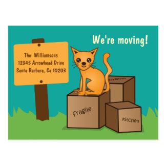Gato con las cajas - estamos moviendo la postal