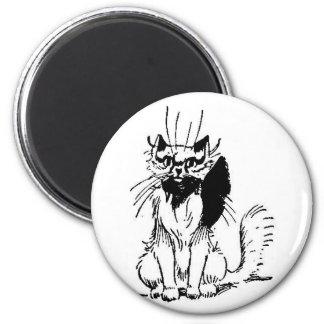 Gato con las ilustraciones del arco imán redondo 5 cm