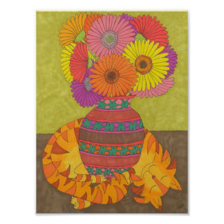 Gato con las margaritas del Gerbera en el florero Poster