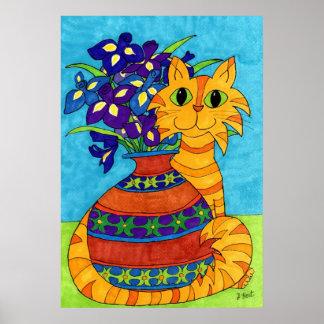 Gato con los iris en el florero de Talavera Póster