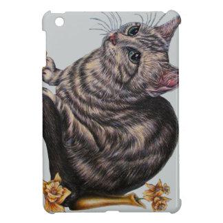 Gato con los narcisos en el mini caso del iPad