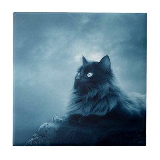 Gato con los ojos que brillan intensamente tejas  ceramicas