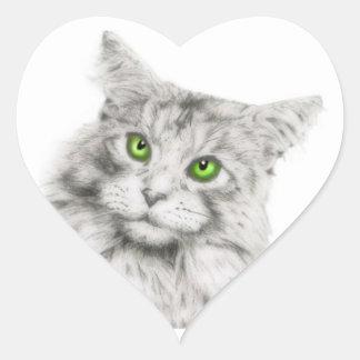 Gato con los ojos verdes colcomanias corazon