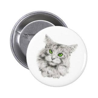 Gato con los ojos verdes pin redondo 5 cm