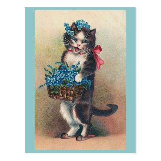 """""""Gato con nomeolvides 2"""" vintage Tarjeta Postal"""