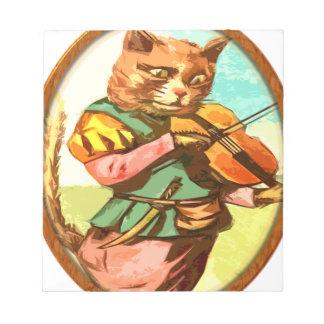 Gato con un violín blocs de papel