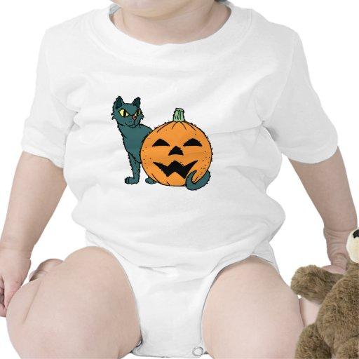 gato con una calabaza traje de bebé
