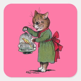 Gato con una jaula de pájaros, Louis Wain Pegatina Cuadrada