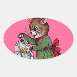 Gato con una jaula de pájaros, Louis Wain Pegatina Ovalada