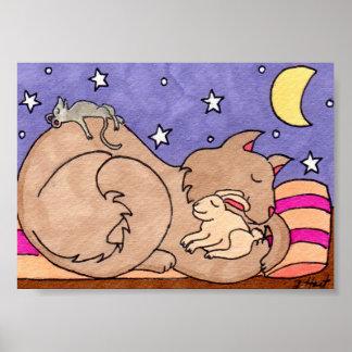 Gato, conejito, y arte popular el dormir del ratón