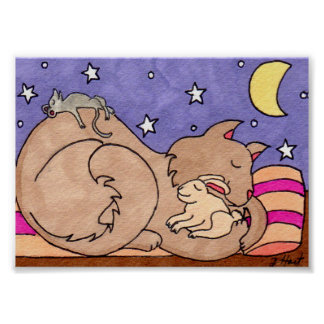 Gato, conejito, y arte popular el dormir del ratón póster