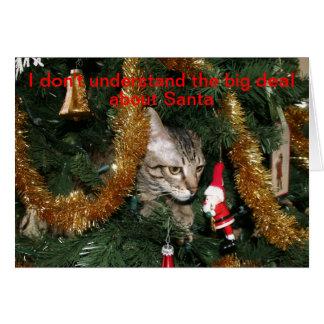 Gato confuso del navidad tarjeta de felicitación