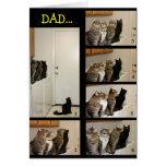 Gato contra tarjeta del día de padre de la mosca
