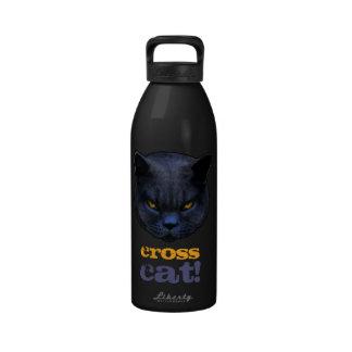 Gato cruzado divertido botellas de agua reutilizables