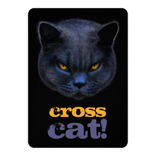 """Gato cruzado divertido invitación 5"""" x 7"""""""
