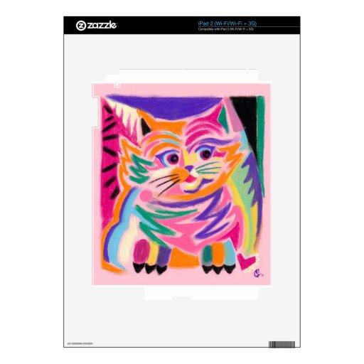 Gato curioso 80s de Cheshire retro Calcomanías Para El iPad 2