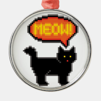 gato de 8 bits adorno navideño redondo de metal