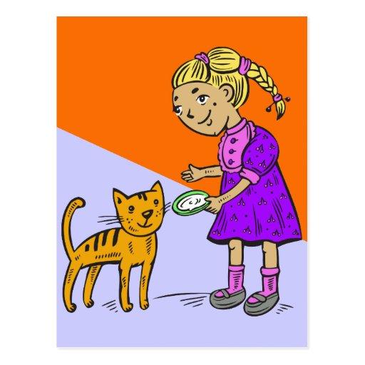 Gato de alimentación del chica postal