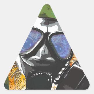 Gato de Apoco Pegatina Triangular