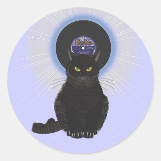 Gato de azules etiqueta redonda