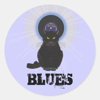 Gato de azules pegatina redonda