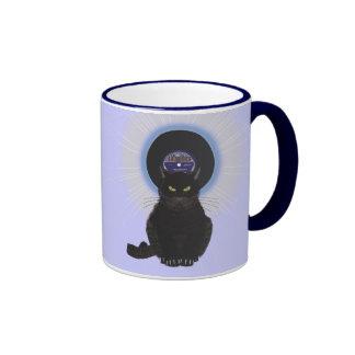 Gato de azules tazas