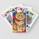 Gato de Brown con la cinta roja (imagen del vintag Barajas