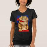 Gato de Brown con la cinta roja (imagen del vintag Camiseta