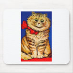 Gato de Brown con la cinta roja (imagen del vintag Alfombrillas De Ratón