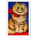 Gato de Brown con la cinta roja (imagen del vintag Felicitación