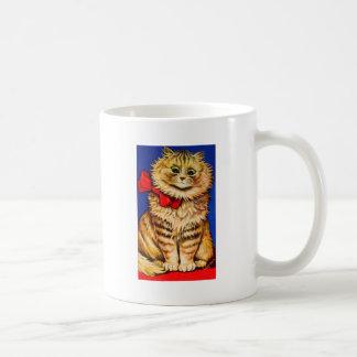 Gato de Brown con la cinta roja (imagen del vintag Taza Básica Blanca