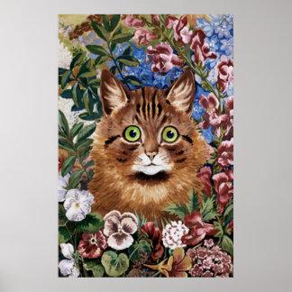 Gato de Brown en la impresión del poster del jardí