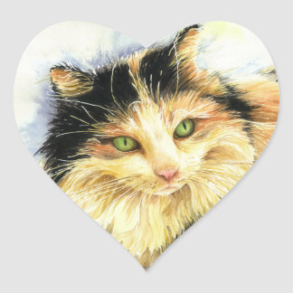 Gato de calicó 0010 pegatina de corazon