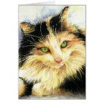Gato de calicó 0010 tarjeta de felicitación