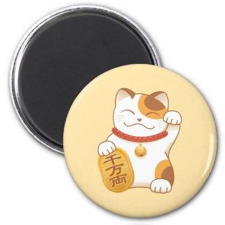 Gato de calicó afortunado japonés, Maneki Neko Imán Redondo 5 Cm
