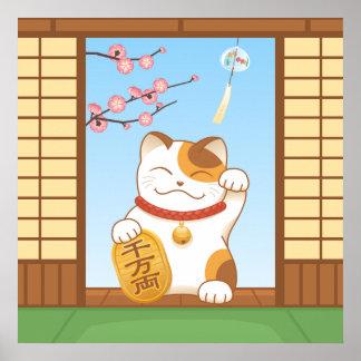 Gato de calicó afortunado japonés, Maneki Neko Póster