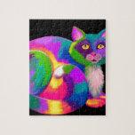 Gato de calicó colorido rompecabezas