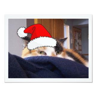 """Gato de calicó del navidad invitación 4.25"""" x 5.5"""""""