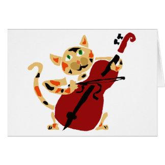 Gato de calicó divertido que juega el dibujo anima tarjeta de felicitación