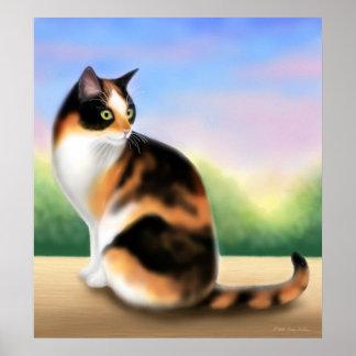Gato de calicó en el poster de la puesta del sol