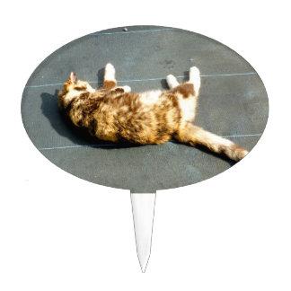 gato de calicó en el revestimiento lateral lejos decoraciones para tartas