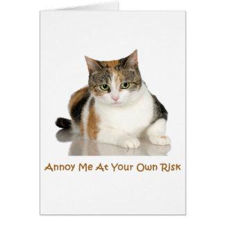 Gato de calicó: Molésteme con su propio riesgo Tarjeta De Felicitación